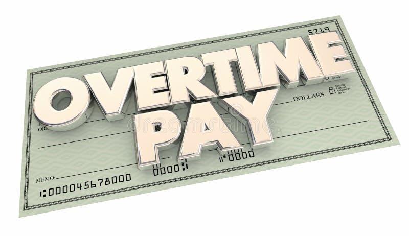 Argent supplémentaire d'heures de travail de contrôle d'indemnité d'heures supplémentaires illustration libre de droits