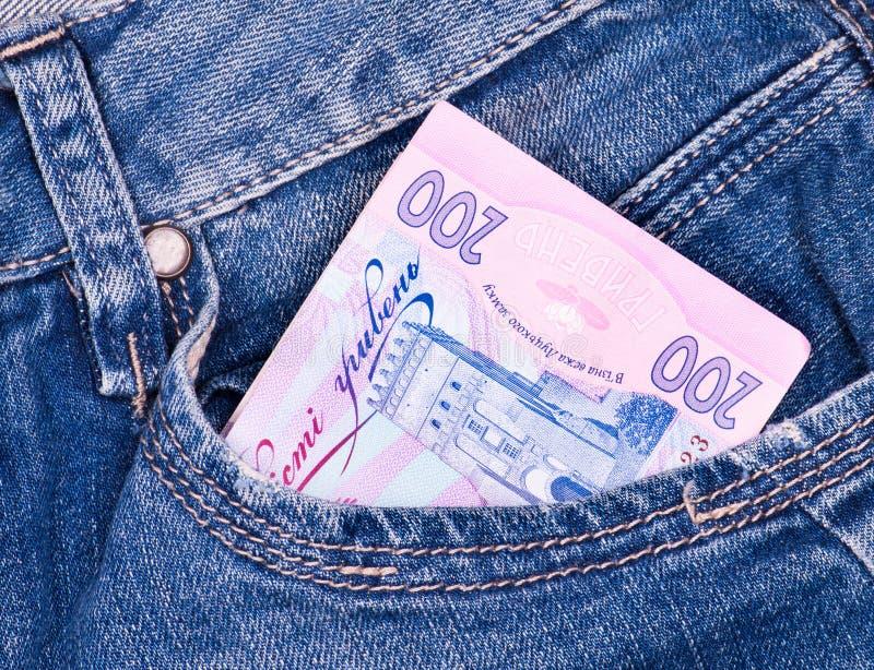 Argent ukrainien dans des jeans image stock