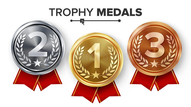 Or, argent, vecteur réglé de médailles de bronze Insigne réaliste en métal avec d'abord, deuxième, troisième accomplissement de p illustration de vecteur