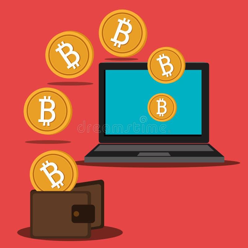 Argent virtuel de Bitcoin illustration libre de droits