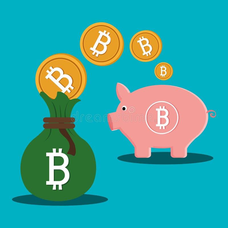 Argent virtuel de Bitcoin illustration de vecteur