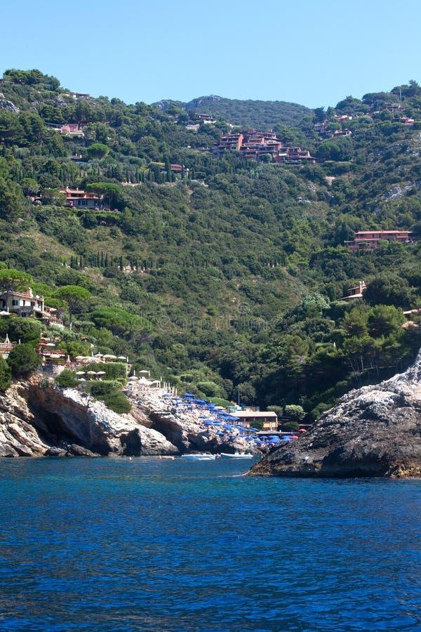 argentario plażowy Italy monte widok fotografia royalty free