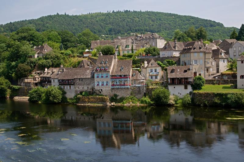 Argentat, France. Argentat is historic town with houses from 16th -17th centuries in the valley Dordogne river in the region southern Correze. France stock image