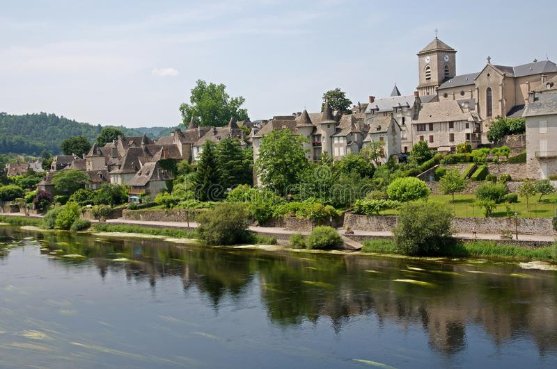 Argentat, France. Argentat is historic town with houses from 16th -17th centuries in the valley Dordogne river in the region southern Correze. France stock photography
