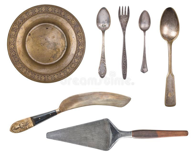 Argenterie de cru, cuillères antiques, fourchettes, couteaux, poche, pelles à gâteau d'isolement sur le fond blanc d'isolement Ar photos libres de droits