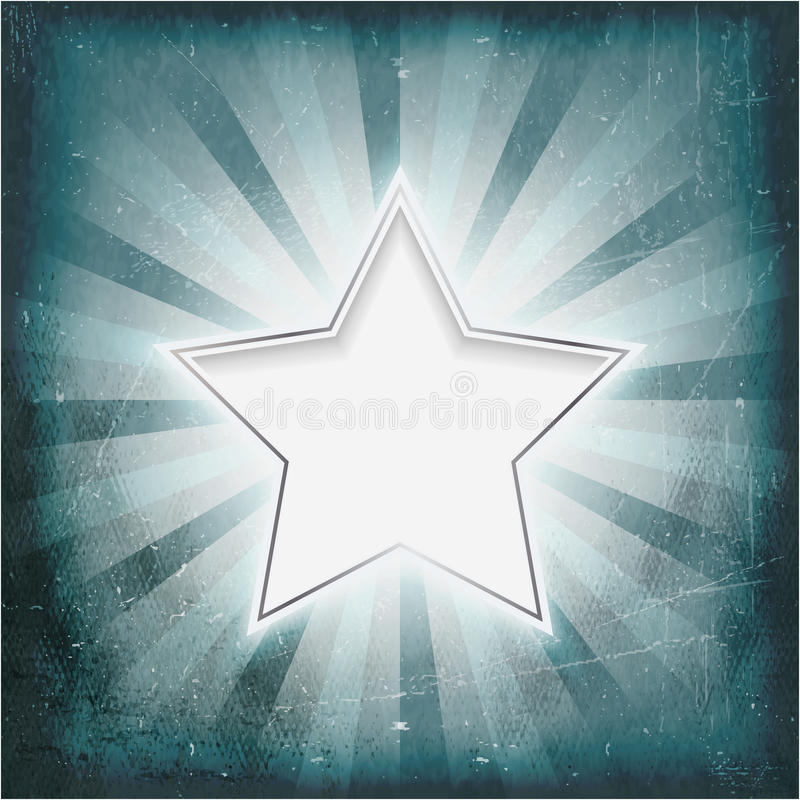 Argentez l'étoile bordée sur le parchemin âgé de rayons légers illustration libre de droits