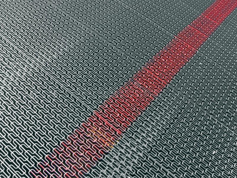 Argentez la surface en métal avec la ligne rouge marquée, images libres de droits