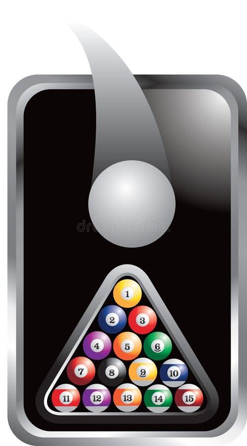 Argenti la sfera di indicazione e l'insieme incorniciati delle sfere di biliardo illustrazione vettoriale