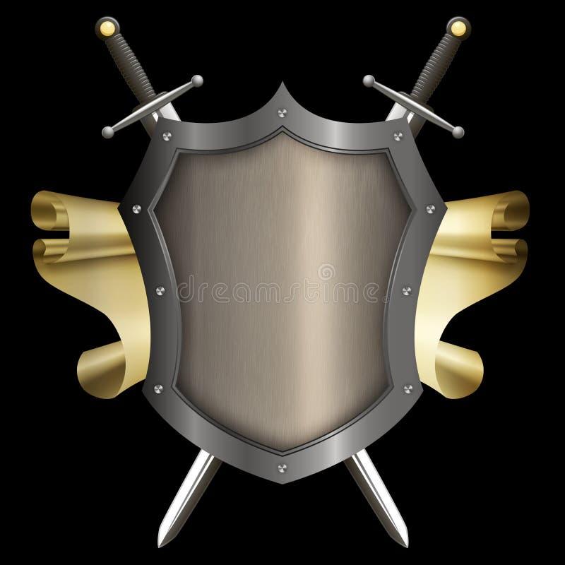 Argenti lo schermo rivettato con il rotolo dell'oro e due spade illustrazione di stock