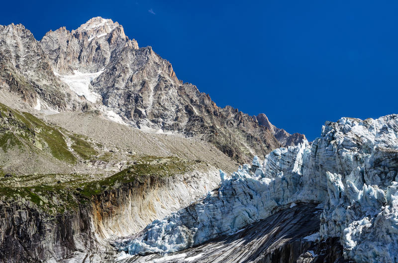 Argentiere Glacier in Mont Blanc, France stock images