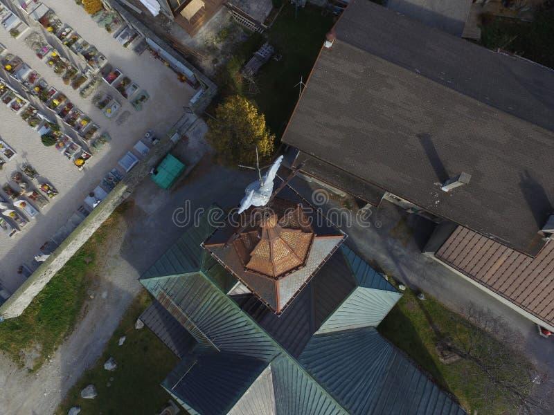 Argentiere kościelny steeple od above obraz royalty free