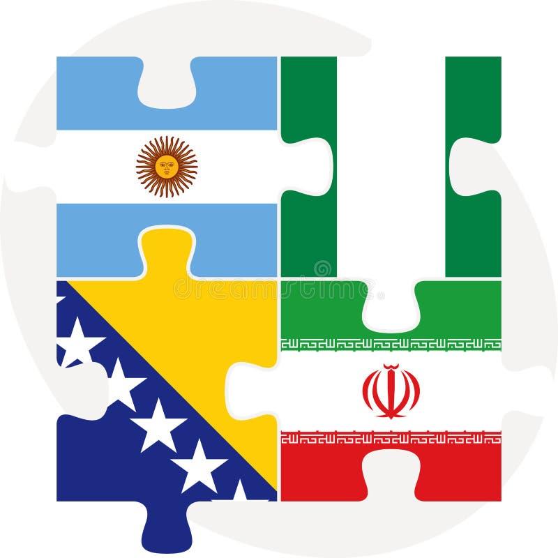 Argentijns, Iraans, Bosnië Herzegovinan en Nigeriaanse Vlaggen binnen vector illustratie