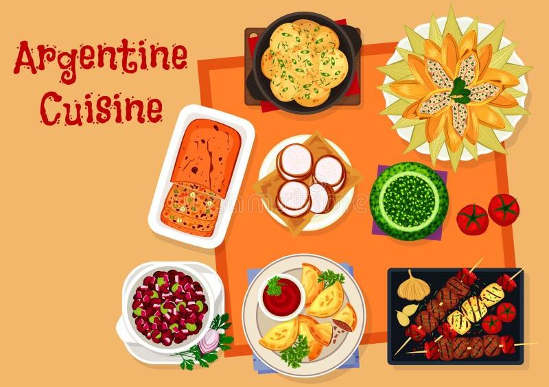 Argentijns keukenpictogram met traditioneel voedsel stock illustratie