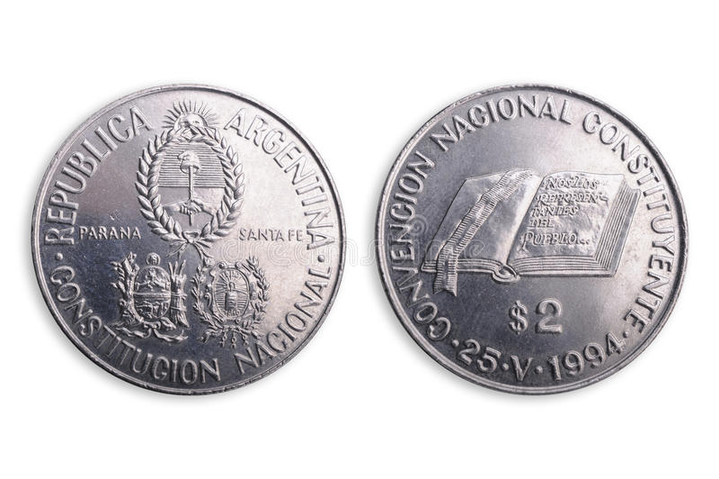 Argentijns muntstuk, speciale uitgave. stock fotografie