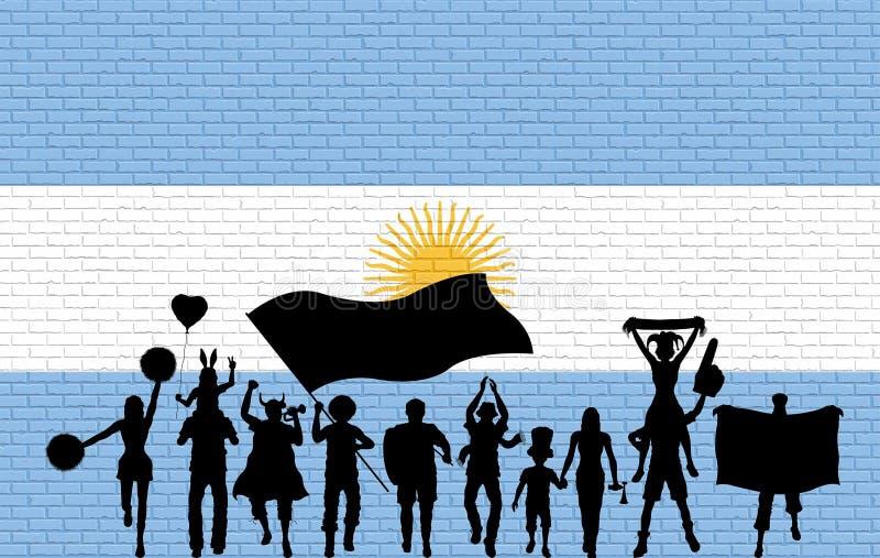 Argentijns verdedigerssilhouet voor bakstenen muur met Arg vector illustratie