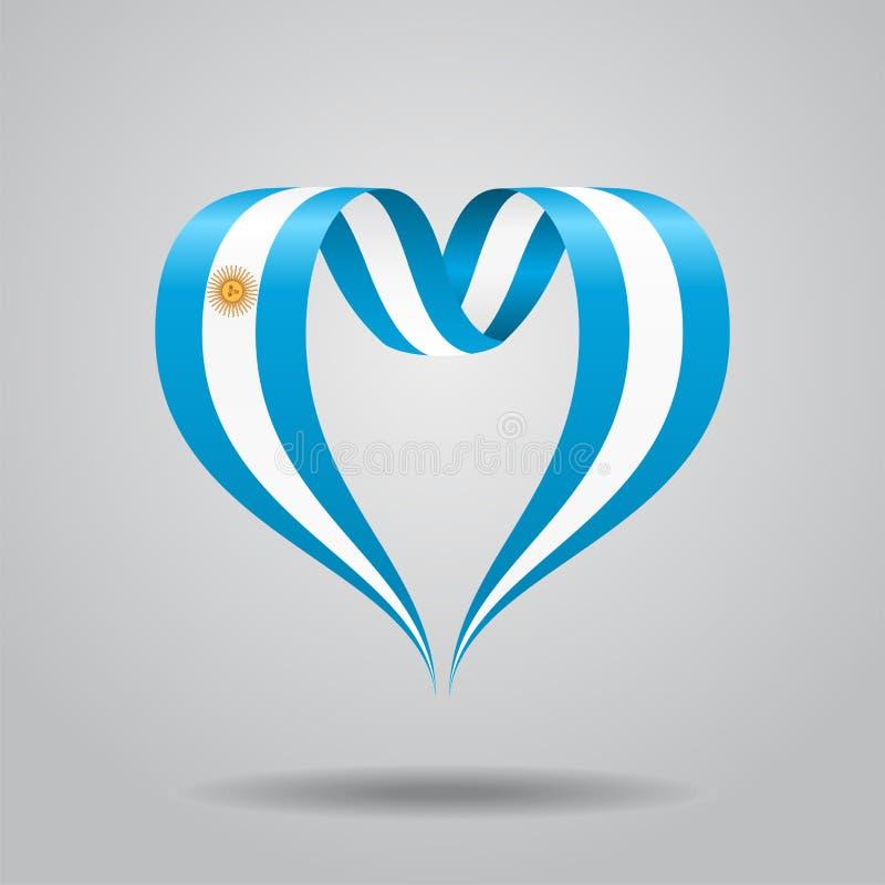 Argentijns vlag hart-vormig lint Vector illustratie stock illustratie