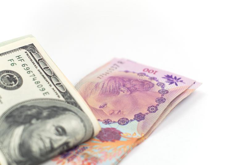Argentijnse peso en Amerikaanse dollar Monetaire uitwisseling, begrip 'buitenlandse economische zaken' royalty-vrije stock afbeelding
