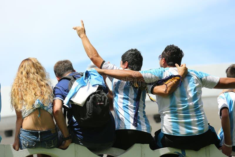 Argentijnse ventilators op het Strand van Miami stock fotografie