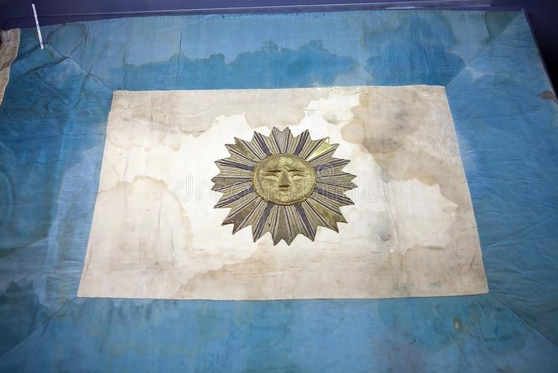 Argentijnse vlag op het Fregat ARA Presidente Sarmiento in Puerto Madero, Buenos aires, Argentinië royalty-vrije stock afbeeldingen