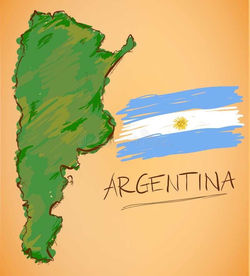 Argentina översikt och nationsflaggavektor royaltyfri illustrationer