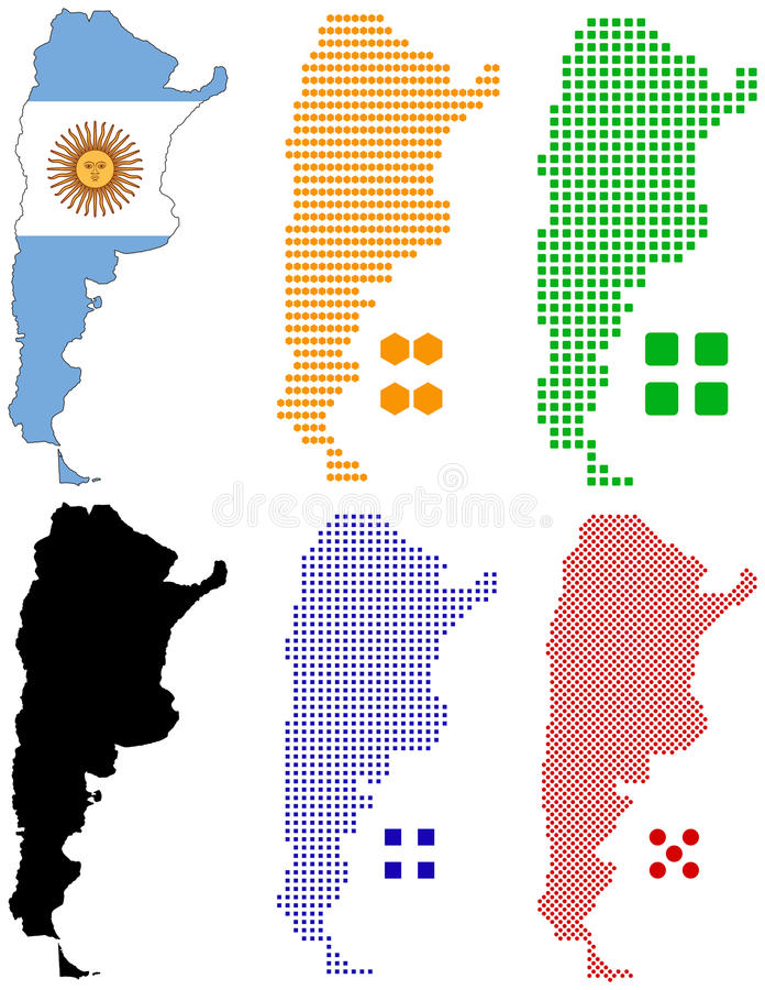Argentina. Illustration pixel map and flag of Argentina royalty free illustration