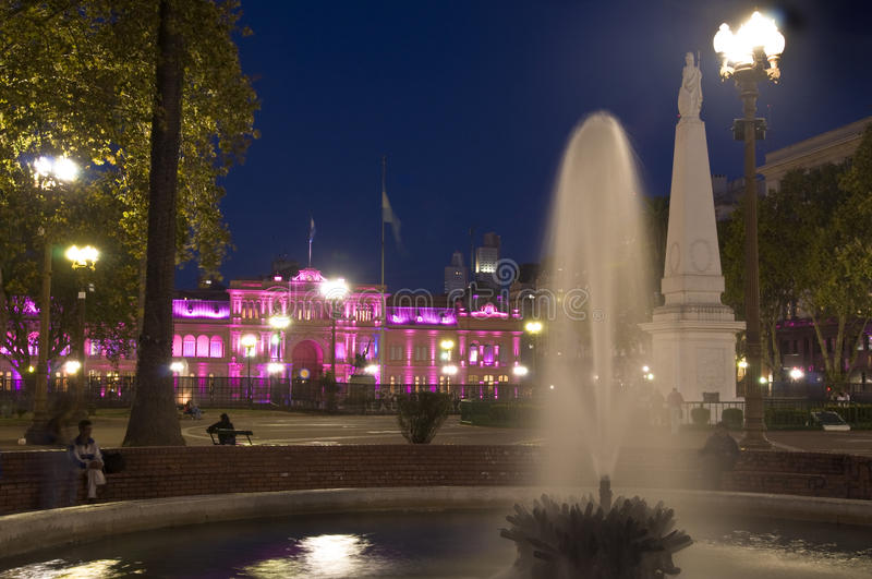 Argentina. La Casa Rosada at Plaza de Mayo (English: The Pink House) in a night shot. This is the executive mansion and office of the President of Argentina stock images