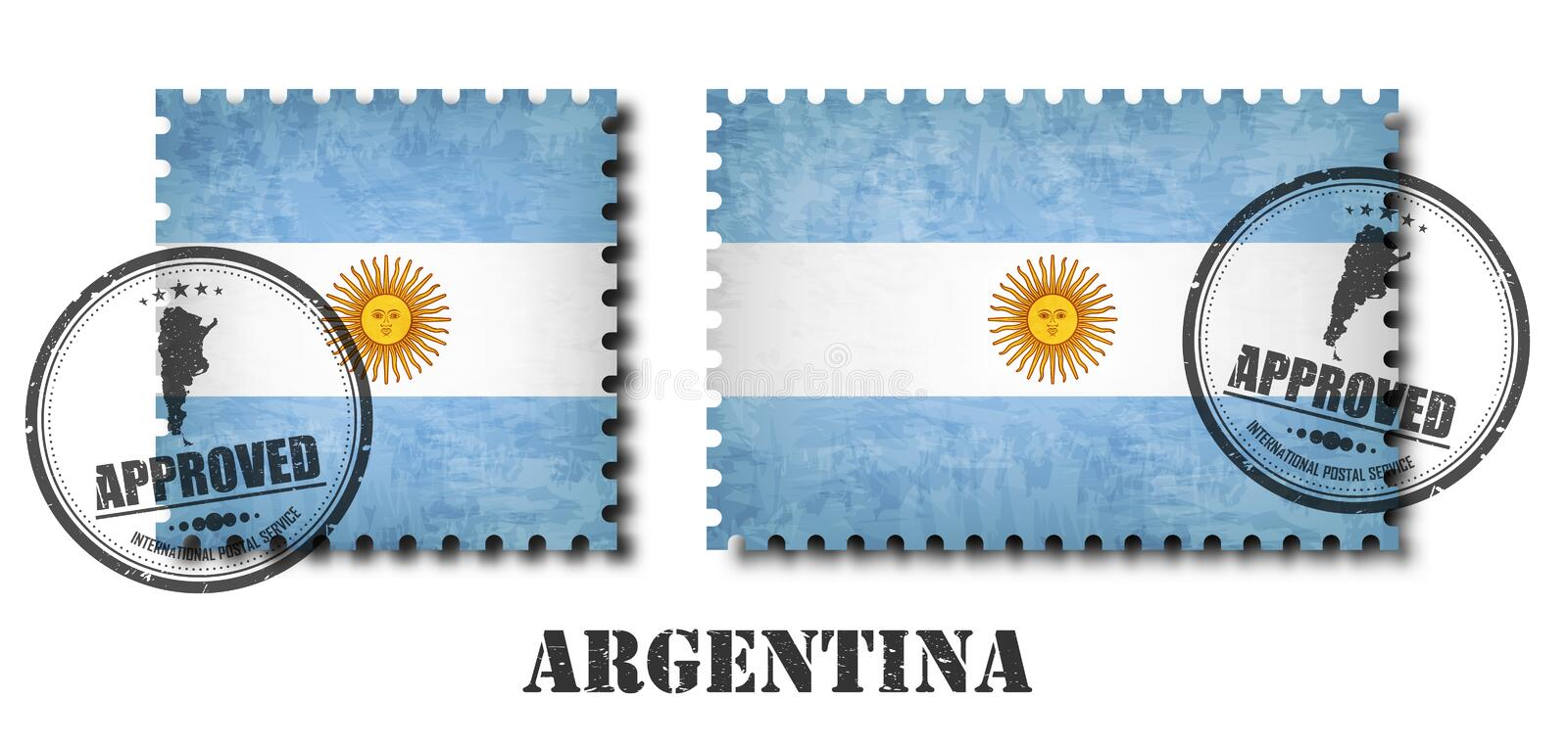 Argentina or argentinian flag pattern postage stamp with grunge old scratch texture and seal on background . Black color stock illustration