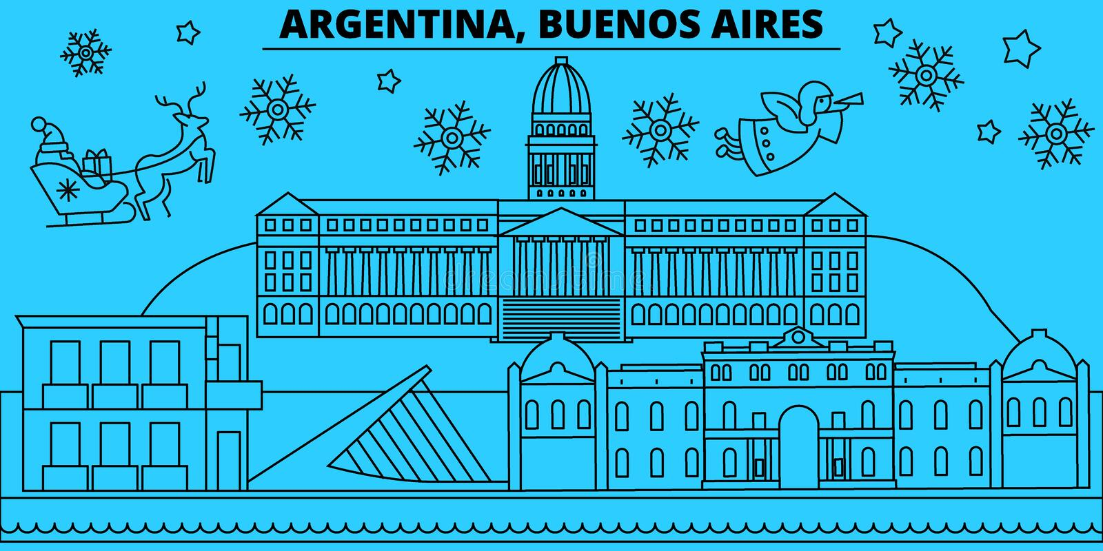 Argentina, Buenos Aeros winter holidays skyline. Merry Christmas, Happy New Year decorated banner with Santa Claus.Flat vector illustration