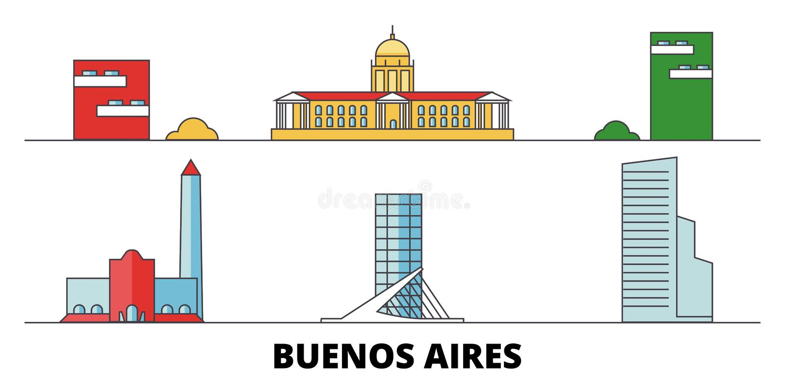 Argentina, Buenos Aires City flat landmarks vector illustration. Argentina, Buenos Aires City line city with famous stock illustration