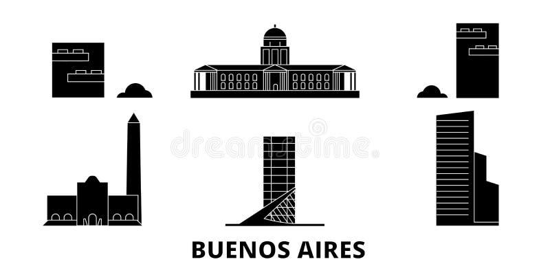 Argentina, Buenos Aires City flat travel skyline set. Argentina, Buenos Aires City black city vector illustration vector illustration