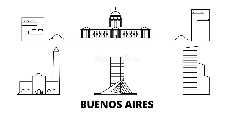 Argentina, Buenos Aires City line travel skyline set. Argentina, Buenos Aires City outline city vector illustration royalty free illustration