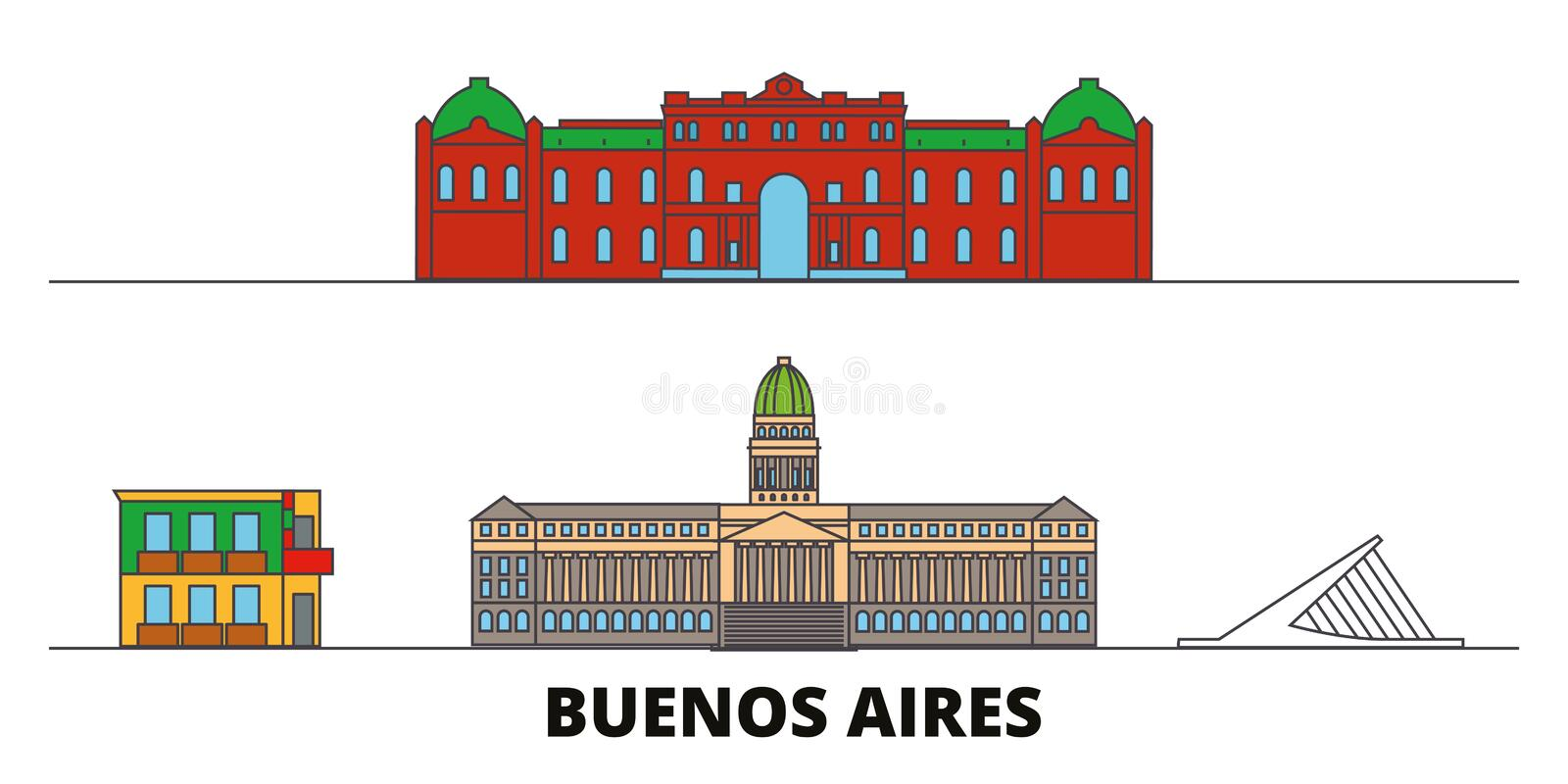 Argentina, Buenos Aires flat landmarks vector illustration. Argentina, Buenos Aires line city with famous travel sights vector illustration