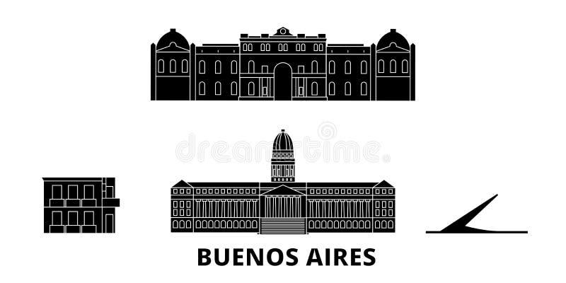 Argentina, Buenos Aires flat travel skyline set. Argentina, Buenos Aires black city vector illustration, symbol, travel stock illustration