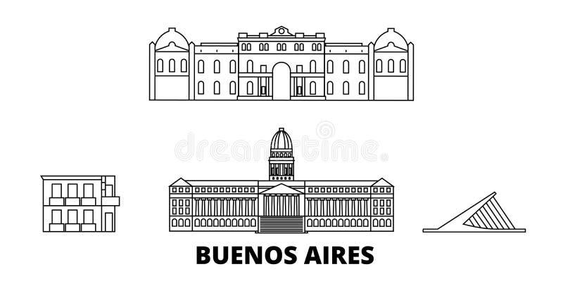 Argentina Buenos Aires linje lopphorisontuppsättning Illustration för vektor för Argentina Buenos Aires översiktsstad, symbol vektor illustrationer