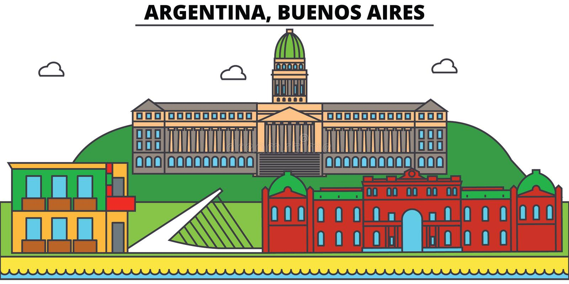 Argentina, Buenos Aires outline city skyline, linear illustration vector illustration