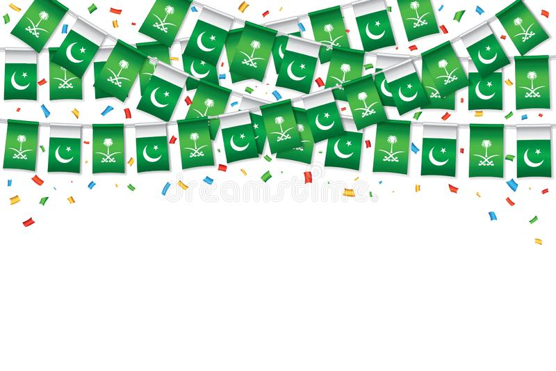 Saudi and Pakistani Flag bunting template background royalty free illustration