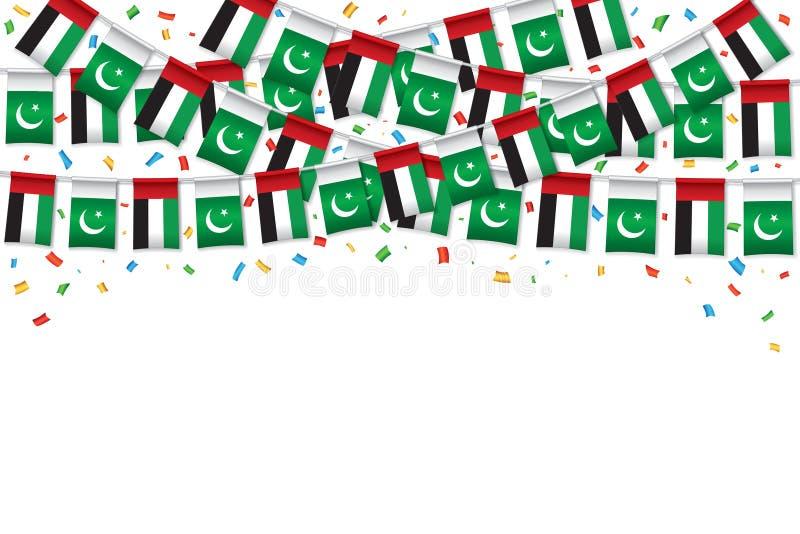 UAE and Pakistani Flag bunting template background stock illustration