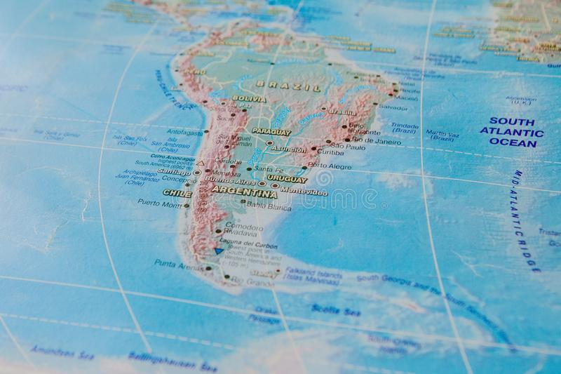 Argentina, Chile and Uruguay in close up on the map. Focus on the name of country. Vignetting effect.  royalty free stock photos