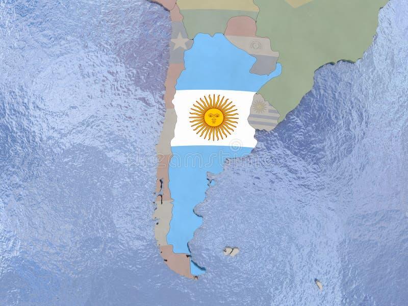 Argentina com a bandeira no globo ilustração royalty free