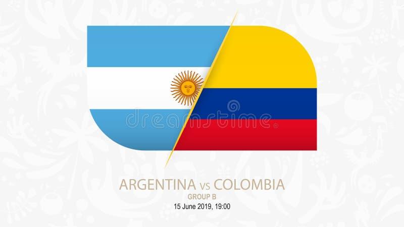 Argentina contra Colômbia, grupo B da competição do futebol ilustração royalty free
