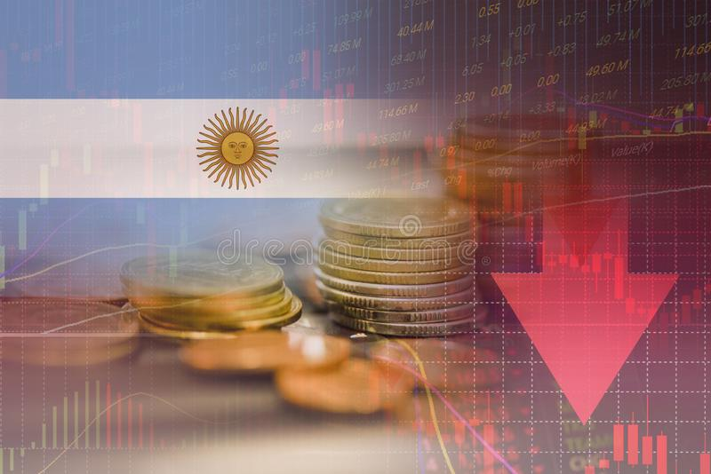 Argentina crisis economy stock exchange market down chart fall trading graph finance Fiscal deficit High inflation loan Argentina. Interest rate is high and stock photography