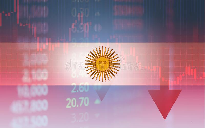 Argentina crisis economy stock exchange market down chart fall trading graph finance Fiscal deficit High inflation loan Argentina. Interest rate is high and stock illustration
