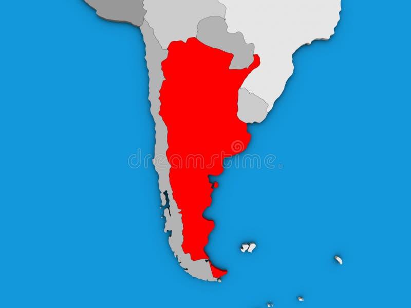 Argentina on 3D map. Argentina on blue political 3D globe. 3D illustration stock illustration