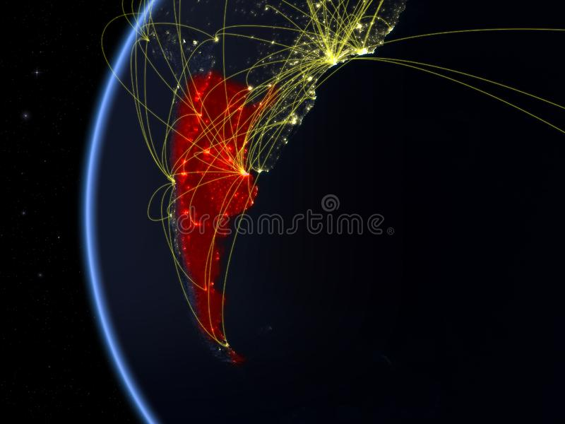 Argentina do espaço com rede imagem de stock royalty free