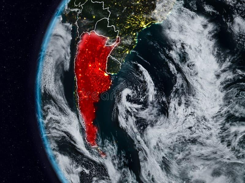 Argentina do espaço durante a noite ilustração do vetor