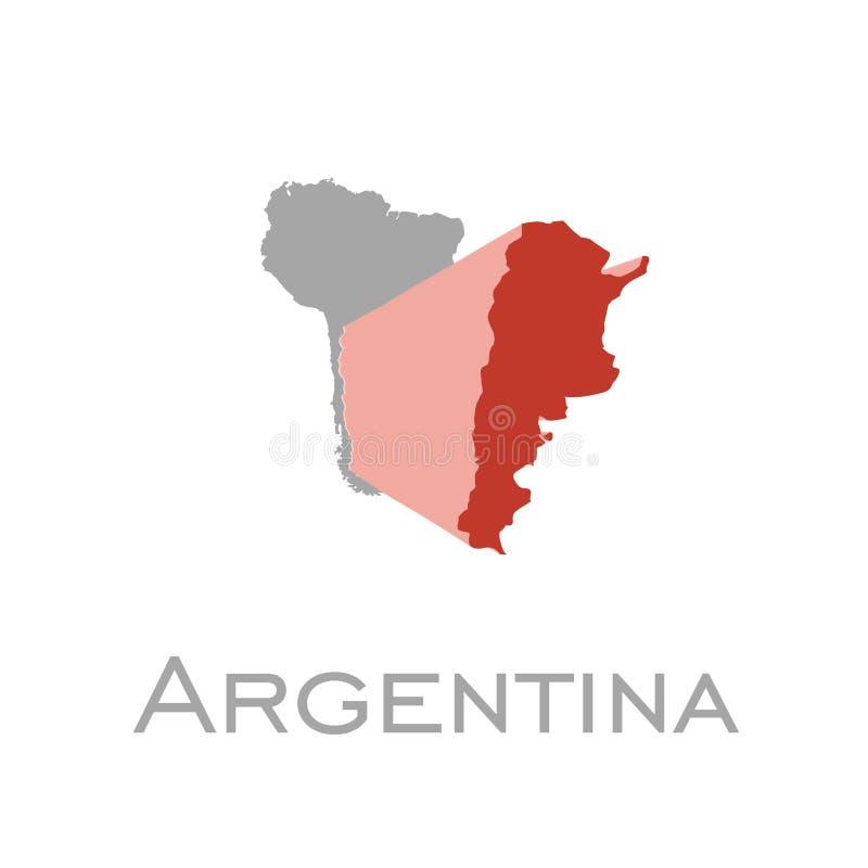 Argentina e sul - mapa americano do continente ilustração do vetor