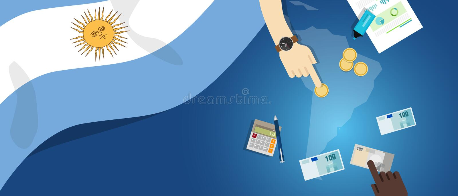 Argentina economy fiscal money trade concept illustration of financial banking budget with flag map and currency. Vector vector illustration