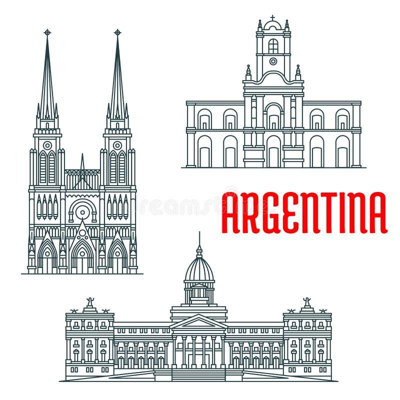 Argentina famous buildings vector facades vector illustration