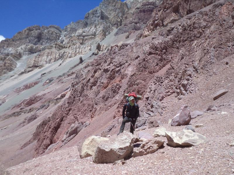 Argentina - Famous peaks - Hiking in Cantral Andes - Peaks around us. Argentina - Hiking in Central Andes -Famous Peaks - Peaks around us stock photo
