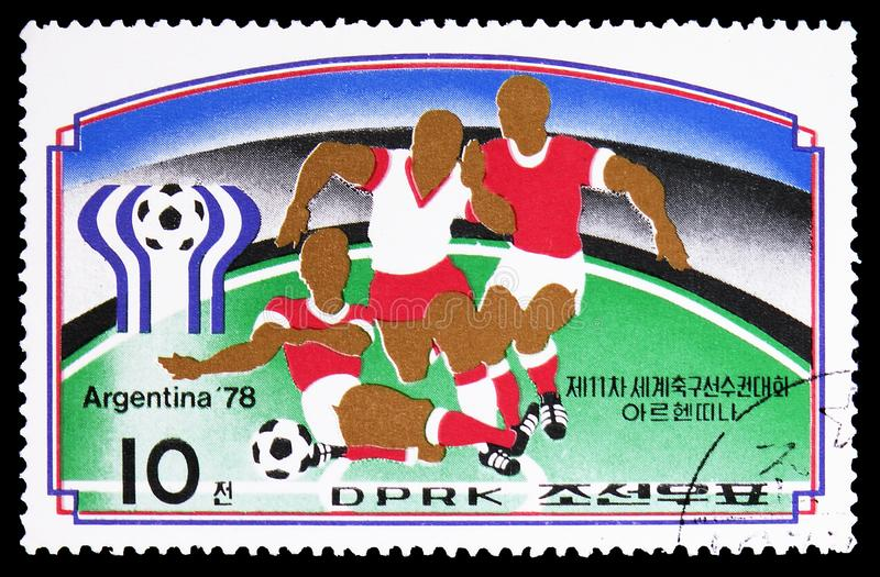 Argentina `78, FIFA World Cup 1978, Argentina serie, circa 1977. MOSCOW, RUSSIA - FEBRUARY 9, 2019: A stamp printed in Korea shows Argentina `78, FIFA World Cup royalty free stock photo